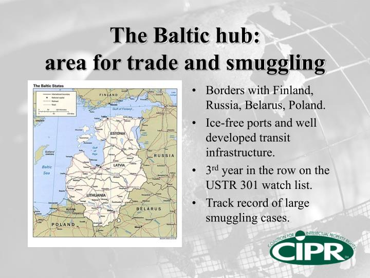 The baltic hub area for trade and smuggling