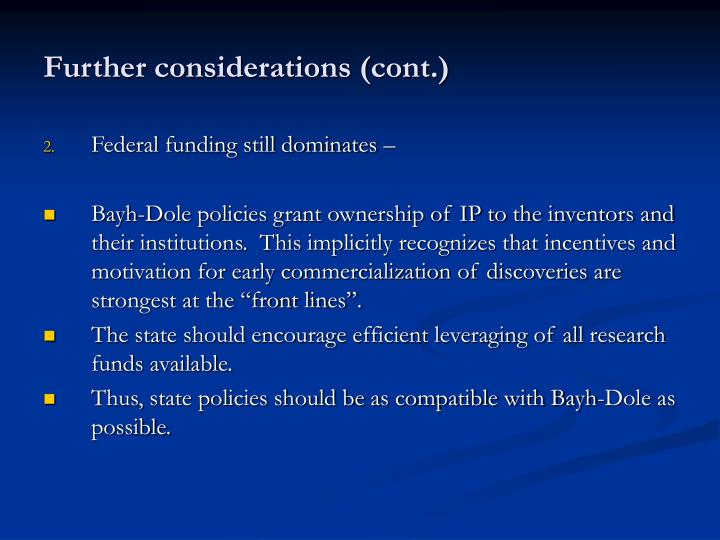 Further considerations (cont.)