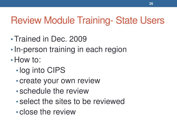 Review Module Training- State Users
