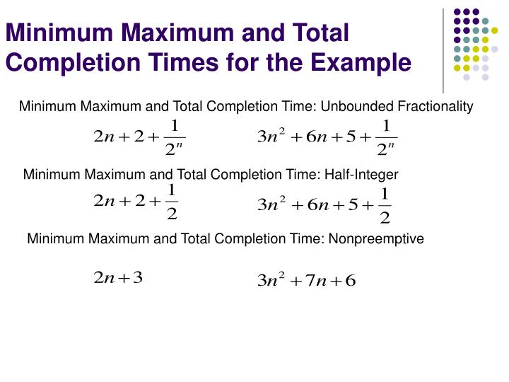 Minimum Maximum and Total Completion Times for the Example