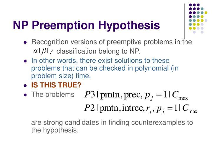 NP Preemption Hypothesis