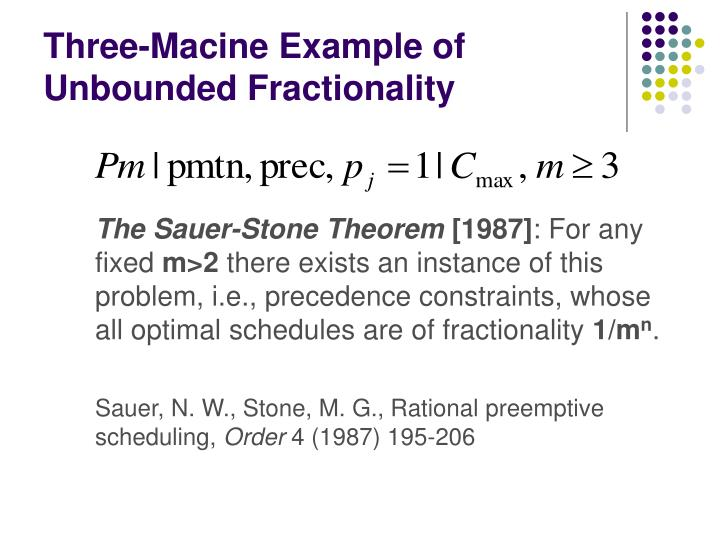 Three-Macine Example of Unbounded Fractionality