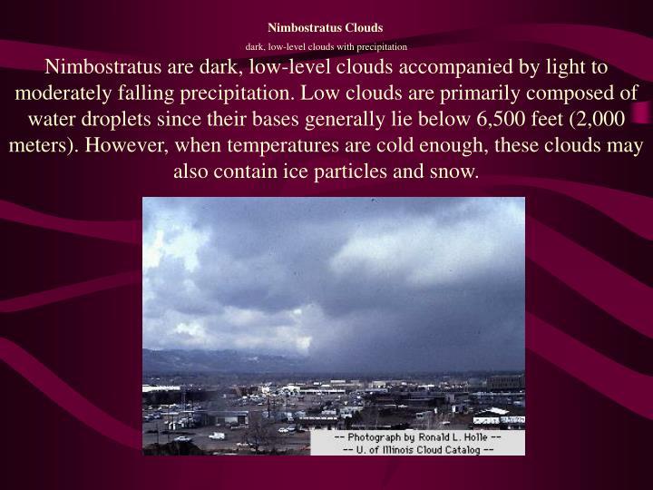 dark, low-level clouds with precipitation