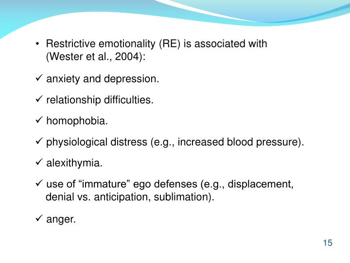 Restrictive emotionality (RE) is associated with (Wester et al., 2004):