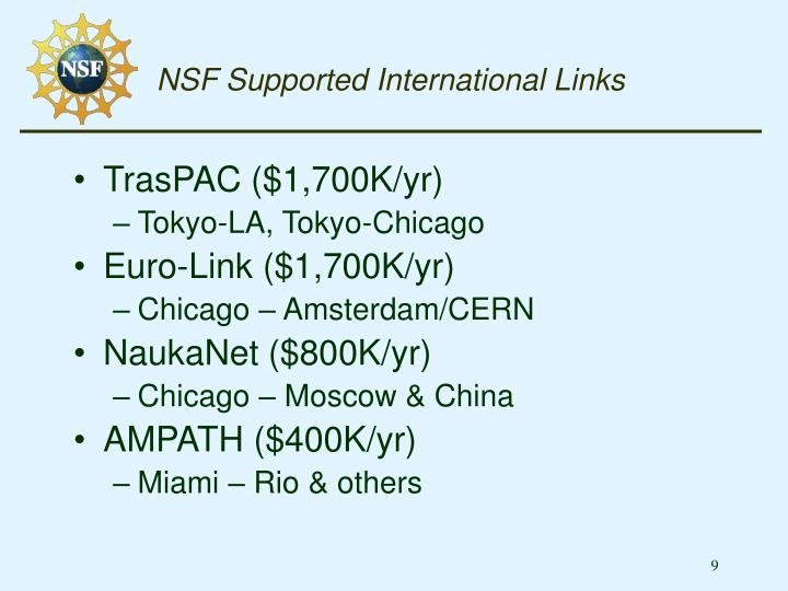 NSF Supported International Links