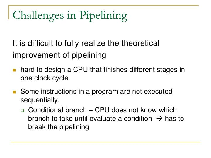 Challenges in Pipelining