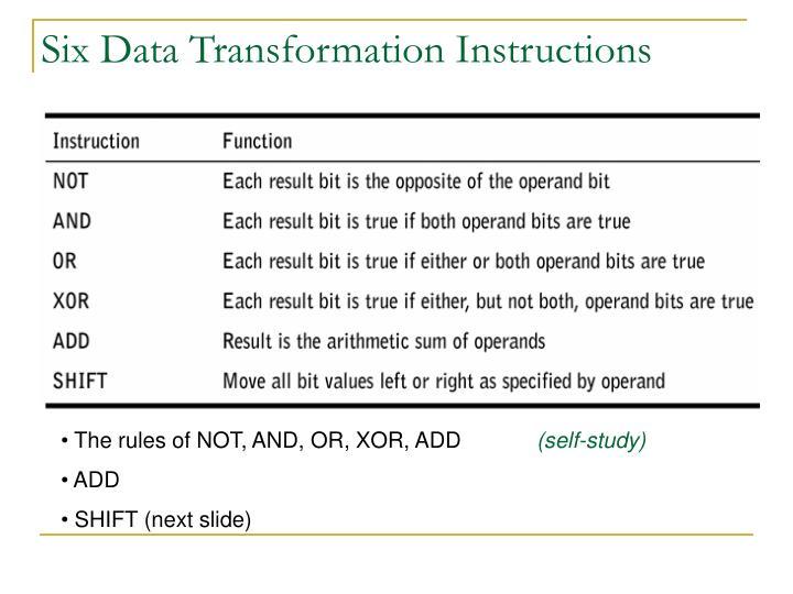 Six Data Transformation Instructions