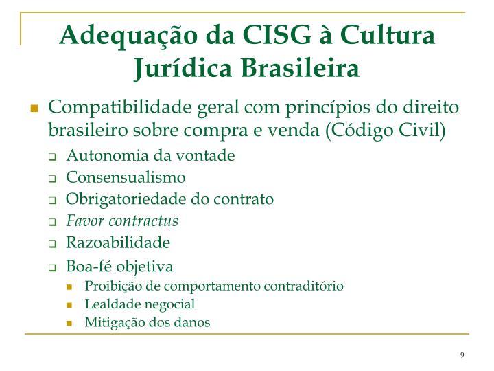 Adequação da CISG à Cultura Jurídica Brasileira