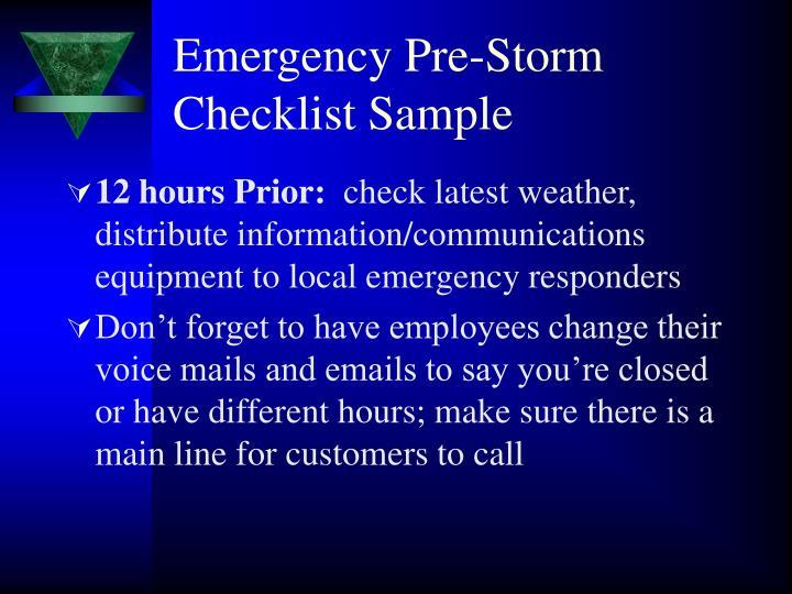 Emergency Pre-Storm Checklist Sample