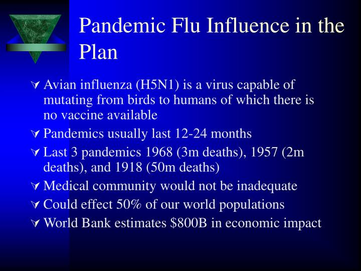 Pandemic Flu Influence in the Plan
