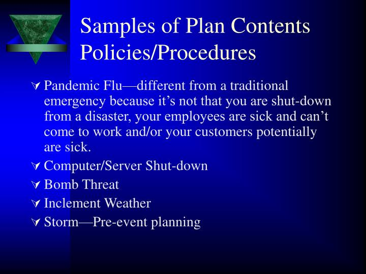 Samples of Plan Contents