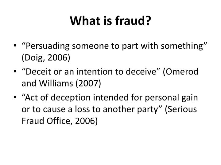 What is fraud?