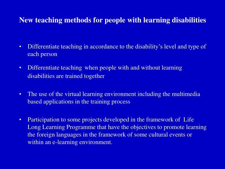 New teaching methods for people with learning disabilities