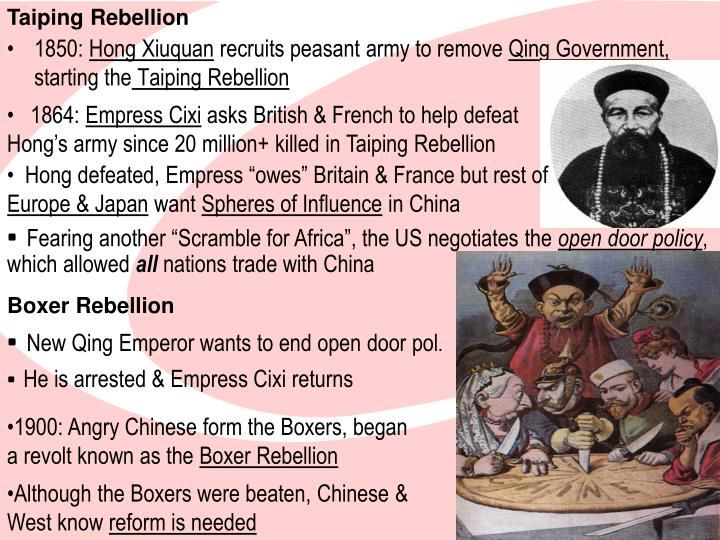 taiping rebellion essay View this term paper on taiping rebellion vs boxer rebellion the last two centuries are considered as the golden age of millenarianism in the sense that they.