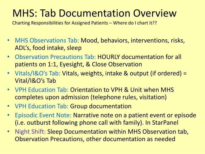 MHS: Tab Documentation Overview