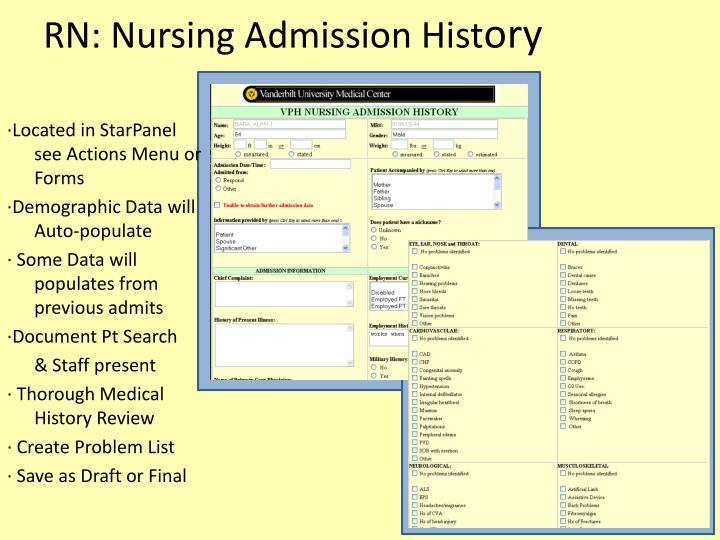 RN: Nursing Admission Hist