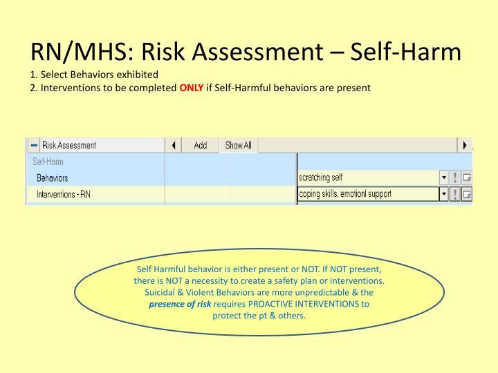 RN/MHS: Risk Assessment – Self-Harm