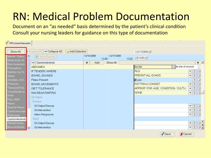 RN: Medical Problem Documentation