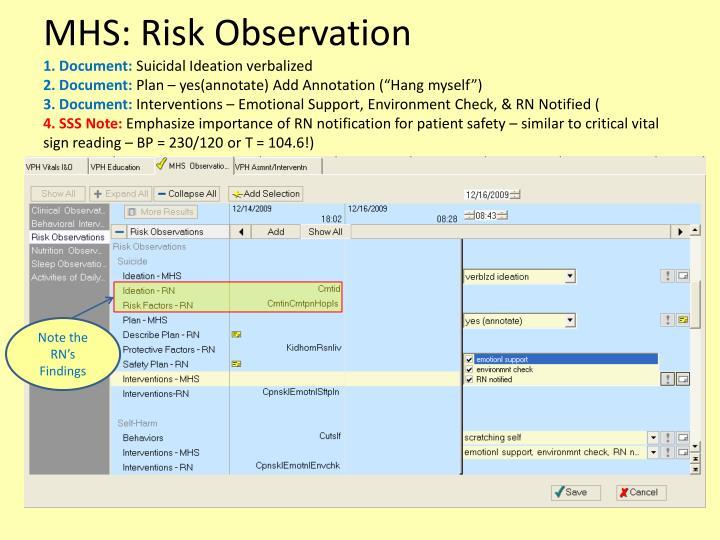 MHS: Risk Observation