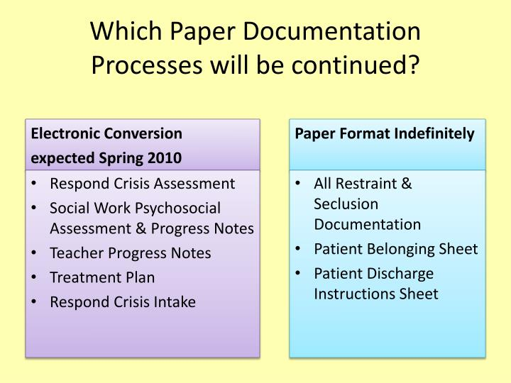 Which paper documentation processes will be continued