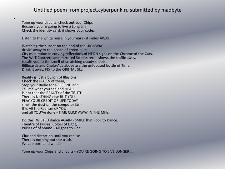 Untitled poem from project.cyberpunk.ru submitted by