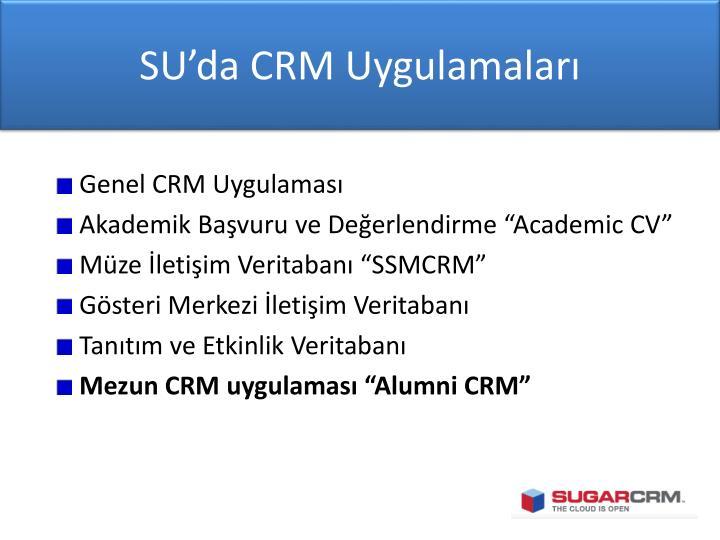 SU'da CRM Uygulamaları