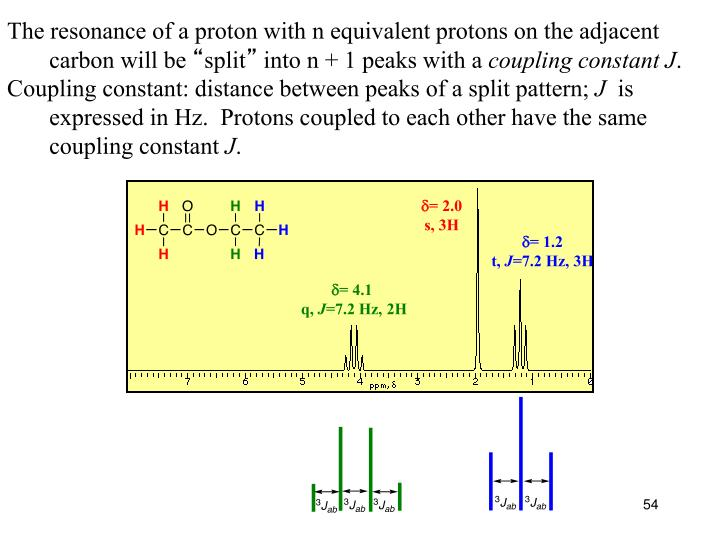 The resonance of a proton with n equivalent protons on the adjacent