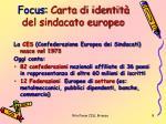 focus carta di identit del sindacato europeo