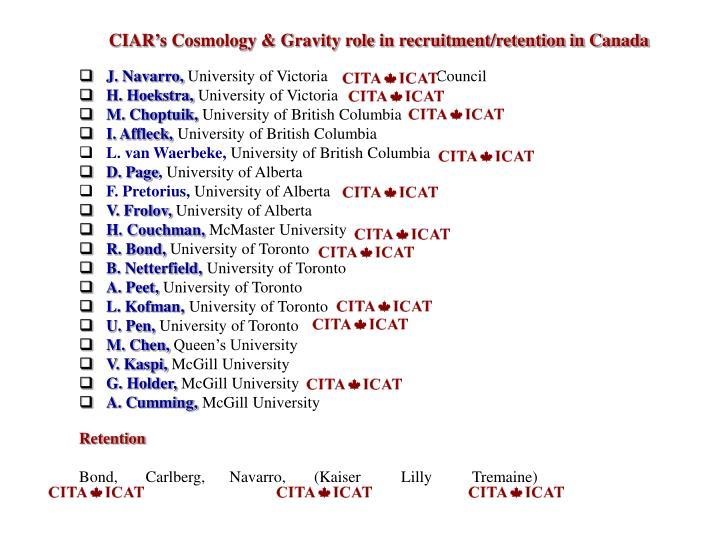 CIAR's Cosmology & Gravity role in recruitment/retention in Canada