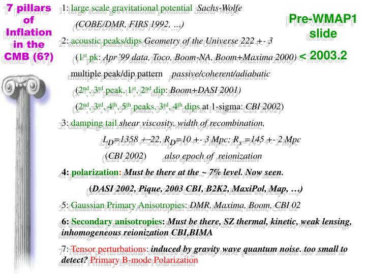 7 pillars of Inflation in the CMB (6?)