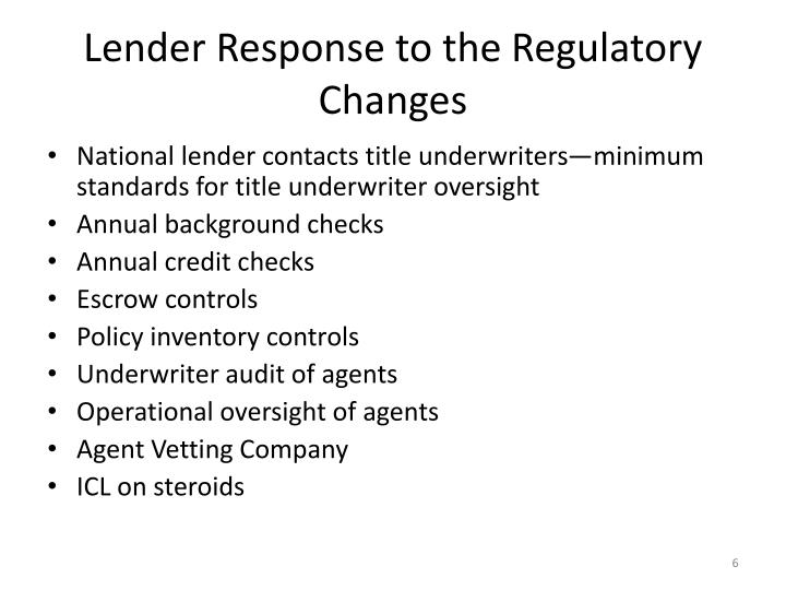 Lender Response to the Regulatory Changes