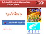 substantial investment banking team business results