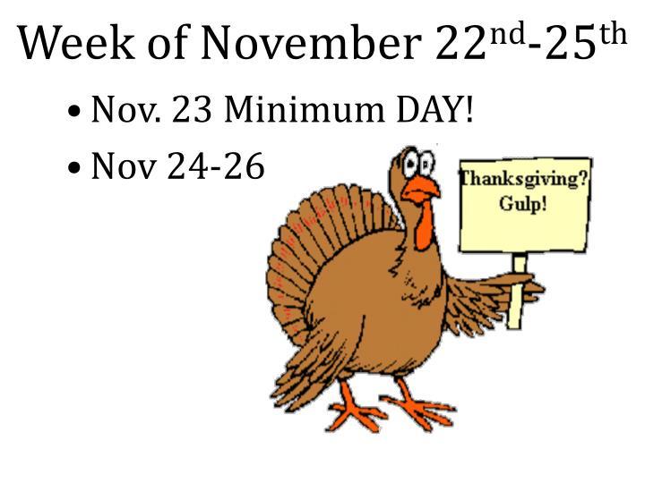 Week of november 22 nd 25 th