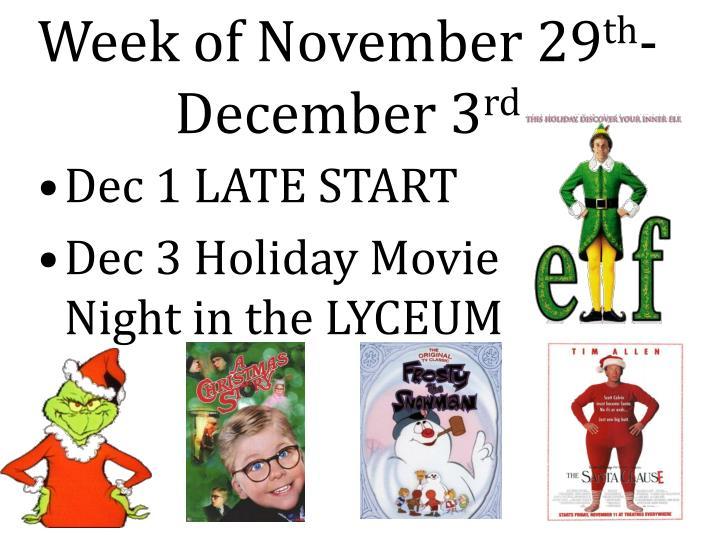 Week of November 29