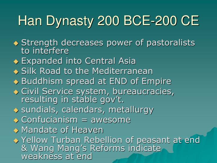 Han Dynasty 200 BCE-200 CE