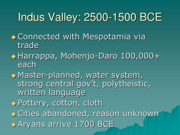 Indus Valley: 2500-1500 BCE