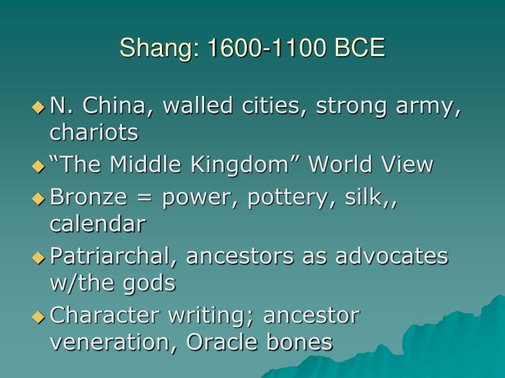 Shang: 1600-1100 BCE