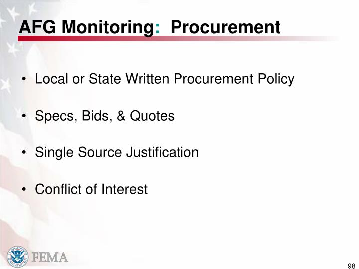 Local or State Written Procurement Policy