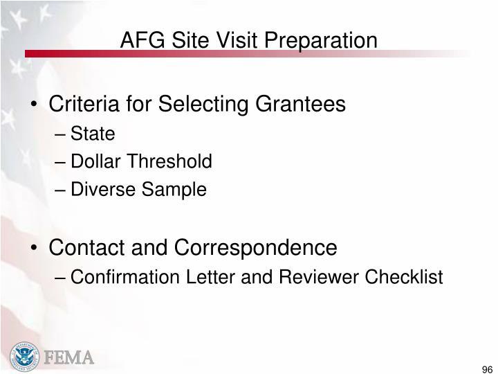 AFG Site Visit Preparation