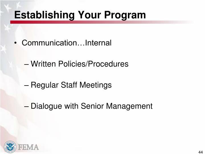 Establishing Your Program