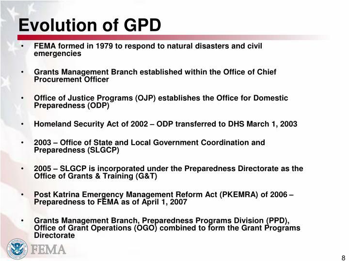 Evolution of GPD