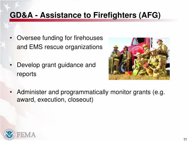 GD&A - Assistance to Firefighters (AFG)