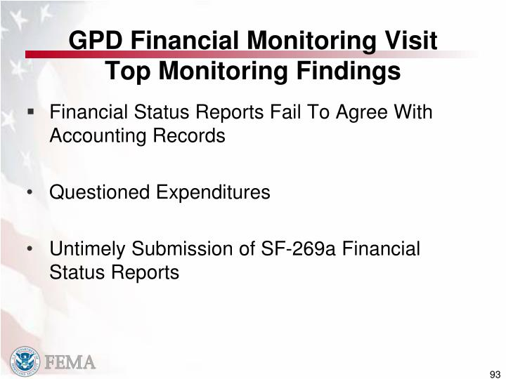 GPD Financial Monitoring Visit