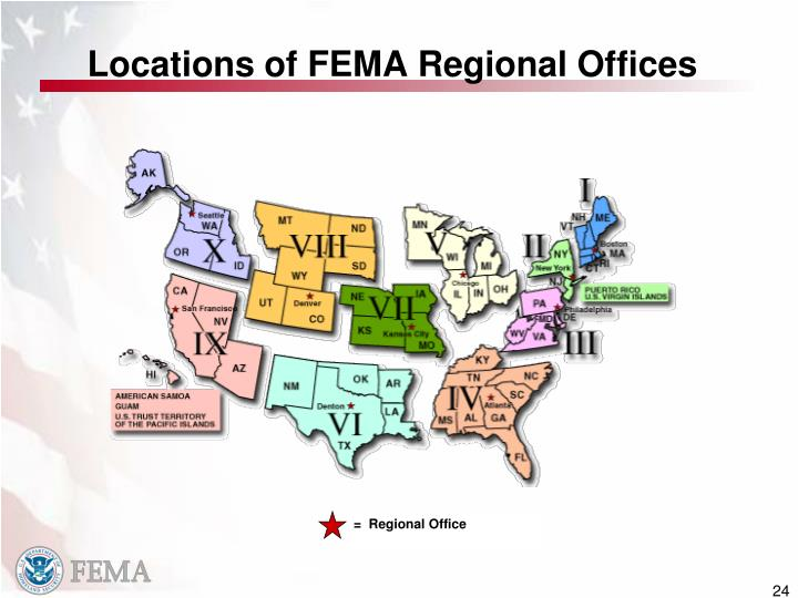 Locations of FEMA Regional Offices
