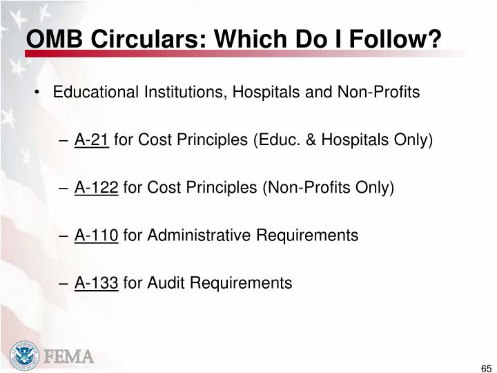 OMB Circulars: Which Do I Follow?