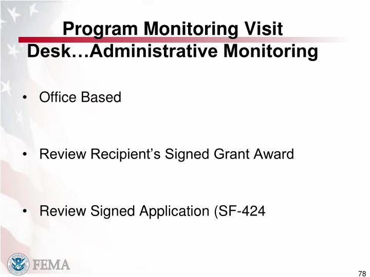 Program Monitoring Visit