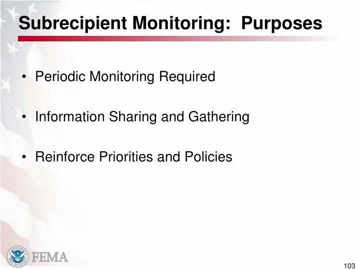 Subrecipient Monitoring:  Purposes