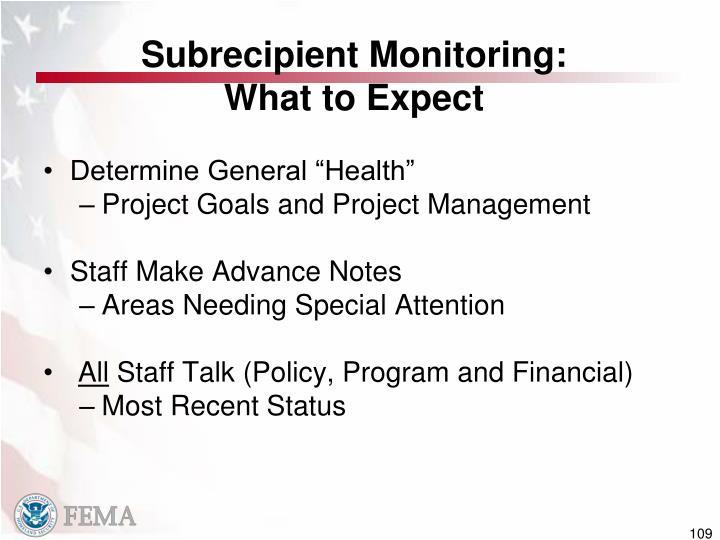 Subrecipient Monitoring: