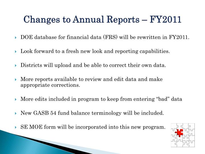 Changes to Annual Reports – FY2011