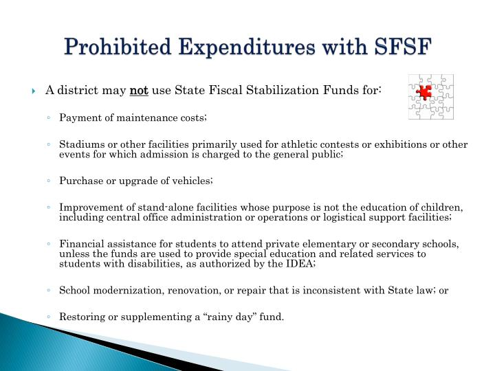 Prohibited Expenditures with SFSF